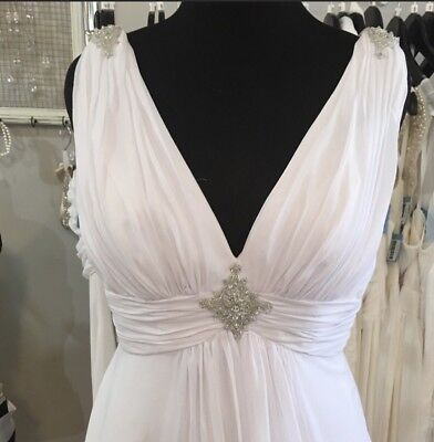 White V Neck Chiffon Wedding Gown Size 18W