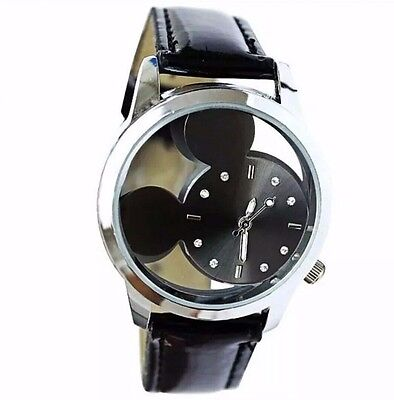 Free S&H !  NEW Mickey Mouse Woman's BLACK Leather Watch