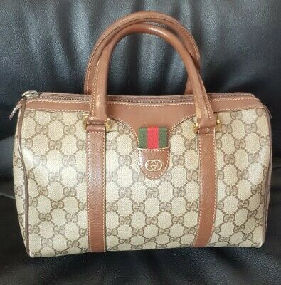Auth Gucci Bag Mini Duffle Gg Logo Vintage Cherry Brown Red Green Strioe