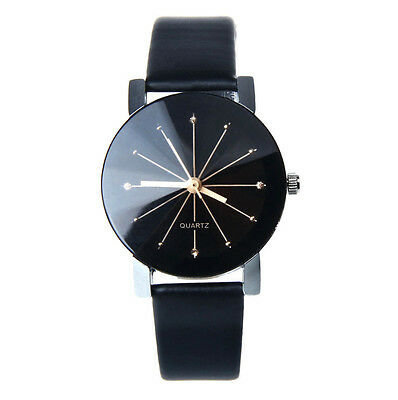 New Fashion Luxury Women's Stainless Steel Black Leather Band Quartz Wrist Watch