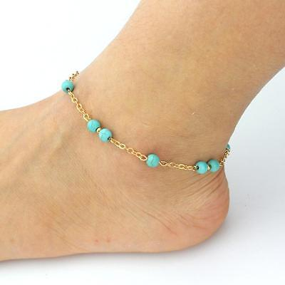 Women's Fashion Jewelry Gold Plated Turquoise Bead Anklet Bracelet 41-8 ()