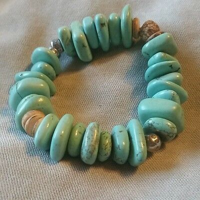 (SILPADA Howlite, St Silver, Mahogany Seed, Coconut Shell Stretch Bracelet #B1699)