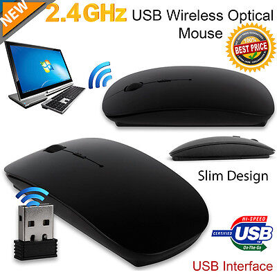 USB MOUSE WIRELESS ULTRA PIATTO USB SENZA FILI WIFI Per PC PORTATILE MAC NERO