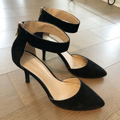 BCBGeneration Women's Malabo Black Suede Ankle Strap Heels Shoes Sz 7.5