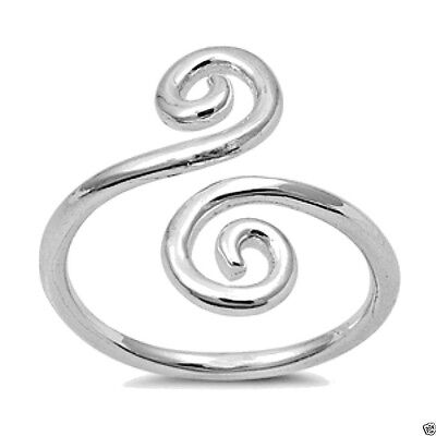 USA Seller Adjustable Double Swirl Toe Ring Sterling Silver 925 Fine Jewelry
