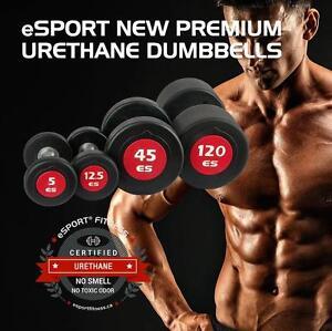 NEW eSPORT URETHANE PROFESSIONAL CLUB DUMBELL SETS 10 Pairs 5lb-50lb + Rack