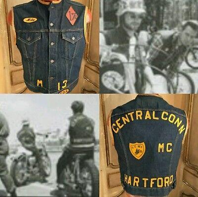 LEVIS Big E Type II 557 Denim Jeans Vest Motorcycle Gang Members Vest 60's XL
