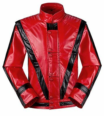 Michael Jackson Thriller Jacket Men Kids MJ Red Leather Coat Fancy Dress Costume