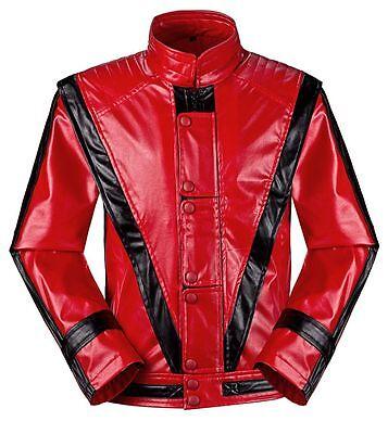 Michael Jackson Thriller Jacket Men Kids MJ Red Leather Coat Fancy DressCostume - Thriller Jackets