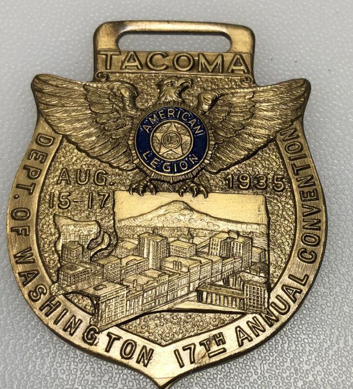 1935 Tacoma Washington American Legion Convention Vintage Fob Pendant Medallion