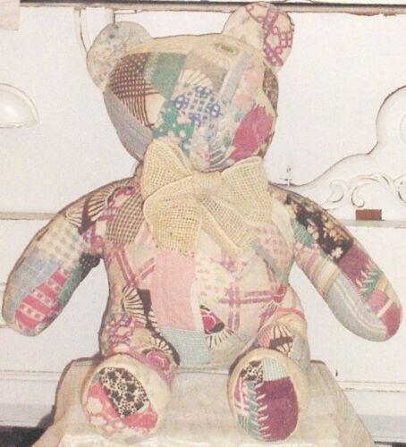 Shabby Vtg Chic Primitive QUILT TEDDY BEAR w Antique FEEDSACK FABRICS,Burlap Bow