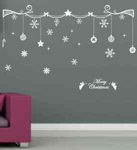 Christmas-Decoration-Art-Wall-Stickers-Vinyl-Transfer-Xmas-Wall-Decals-UK-SH34