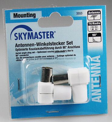 Antennen-Winkelstecker Set 1x Koaxstecker + 1x Koaxkupplung 90° Antennenstecker