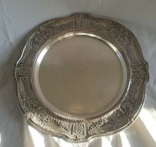 11 VINTAGE SILVER PLATE ENGLISHSERVING TRAY FLORIL CASTLE CAST BUFFET - $19.99