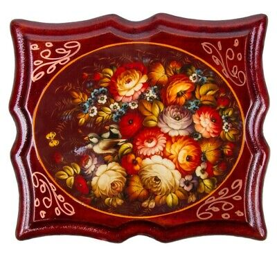 Keepsake with Floral Pattern, Zhostovo Style Russian Lacquer Box