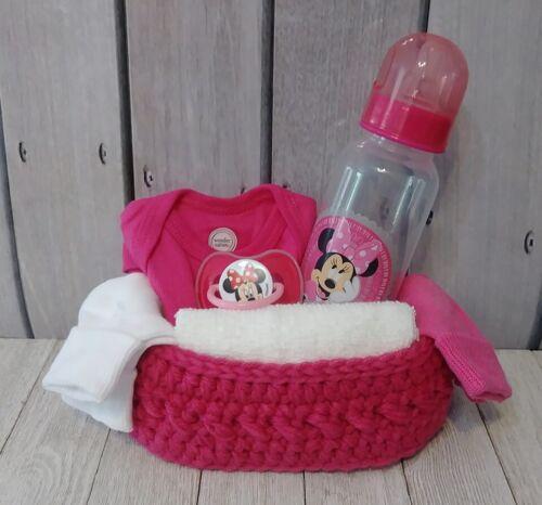 Baby newborn pink minnie mouse crochet shower gift set basket handmade new