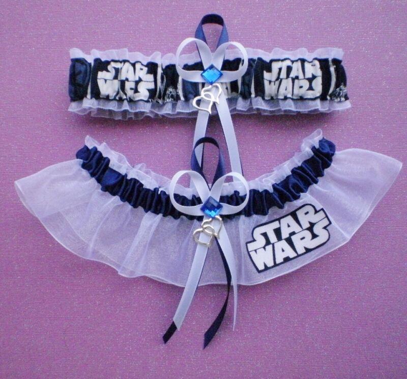 Star Wars Fabric Plus Size Jewel Wedding Bridal Garter Set Double Heart Charm