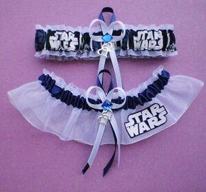 Star Wars Fabric Jewel Wedding Bridal Garter Set Double Heart Charm