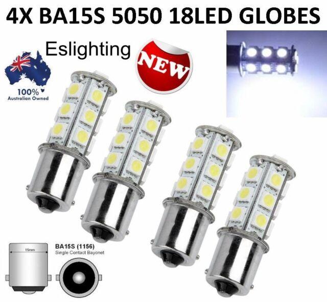 4X 1156 BA15S CAR WHITE GLOBE 18 LED BRAKE REVERSE TURN STOP TAIL LIGHT BULB 12V