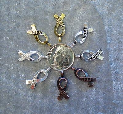 Bright Copper Bead - 100 Bright Antiqued Silver Gold Copper Hope Awareness Cancer Ribbon Bead Charms