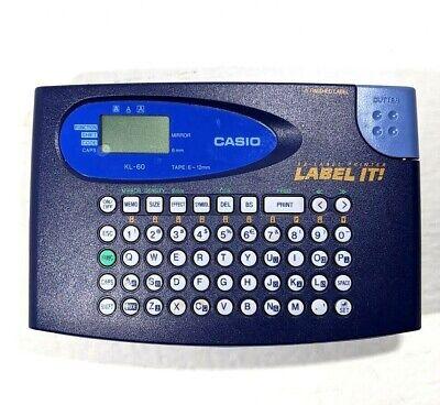 Casio Kl-60 Label It Ez-label Printer Plus Tape Clear Label Maker For Parts