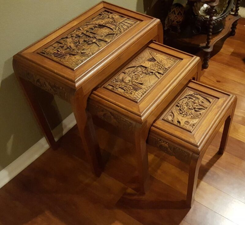 Antique Carved Rosewood Asian Nesting / Stacking Tables Set of Three