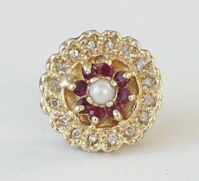 14K Yellow Gold KLJCI Richard Klein Slide Bracelet Charm Round Opal Ruby A2425