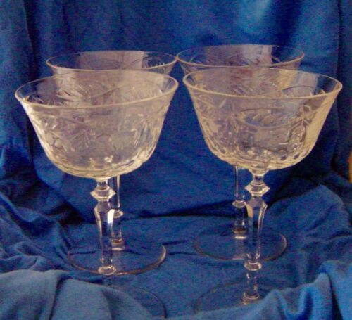 SET OF 4 ANTIQUE CUT CRYSTAL BOWLS/WINE STEMMED GLASSES