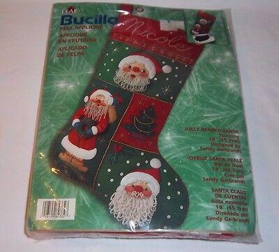 Christmas Jolly Beaded Santa Stocking Kit BUCILLA 18