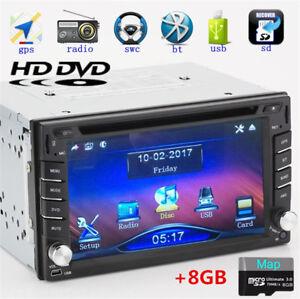 Double 2Din HD Car GPS Stereo DVD CD Player Bluetooth Dash Radio w/ 8G Free Maps