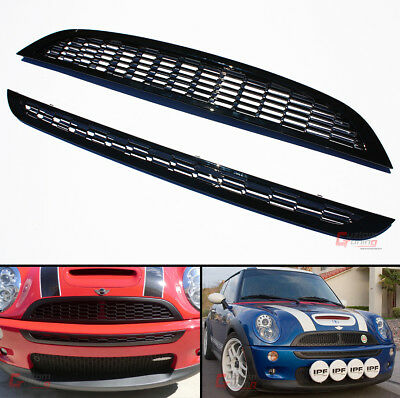 For 01-06 Mini Cooper R50 R52 R53 Front Upper Lower Glossy Blk Honeycomb Grille