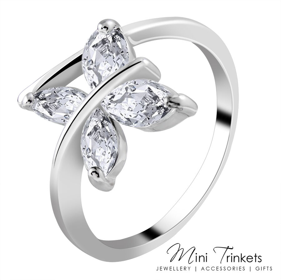 925 silver plated cubic zirconia princess square promise