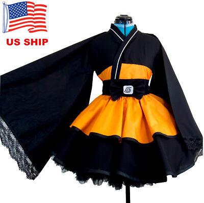 US! Naru Shippuden Uzumaki Cosplay Costume Dress Lolita Kimono Halloween Anime