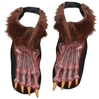 Grey Werewolf Feet (ADULT GREY OR BROWN WEREWOLF MONSTER FEET SHOE COVERS COSTUME ACCESSORY)
