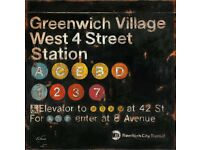 Fabrice De Villeneuve Greenwich Village New York Subway Galvanized Steel Panel art