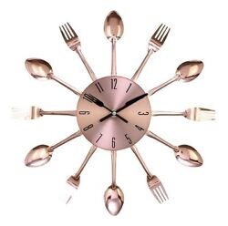 Benzara 85522 Metal Copper Wall Clock 15D Forks and Spoons Cutlery NEW