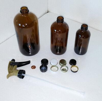 BOSTON ROUND GLASS BOTTLE JAR 8, 16, 32 oz. Plastic Phenolic Metal Amber Sprayer