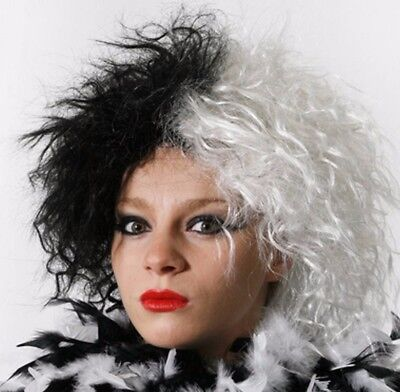 IL HALLOWEEN Black White Villain Child Wig Evil Dog Book Character Costume 2155](Black And White Halloween Characters)