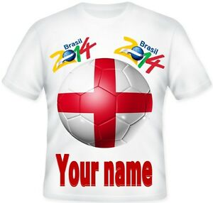 GIRLS-BOYS-WORLD-CUP-2014-England-Brazil-Football-Personalised-Kids-T-shirt-GIFT