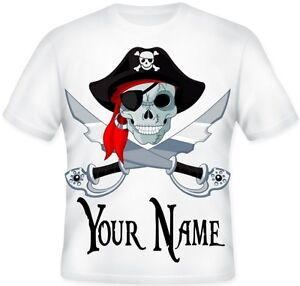 GIRLS-BOYS-Top-Sublimation-Personalised-Pirate-Skull-Cross-Bones-T-Shirt-Gift