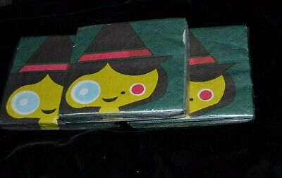 60 Vtg HALLOWEEN Beverage Napkins Target Brand Made USA CUTE GREEN WITCH 2 PLY