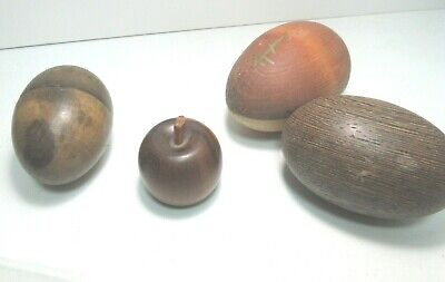 3 X VINTAGE CARVED WOODEN EGGS AND APPLE MIXED TREEN
