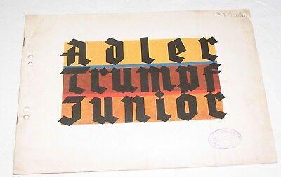 Orig. Prospekt Adler Trumpf Junior 1 Liter Prospekt mit Bilder Werbung Reklame
