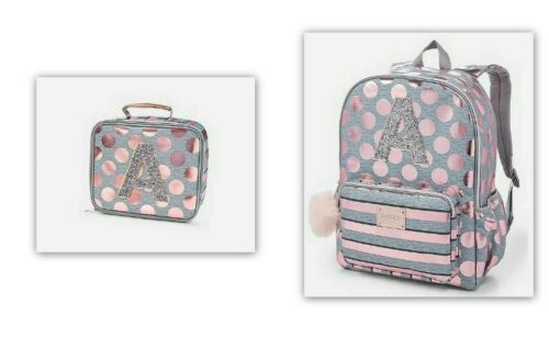 NEW JUSTICE ROSE GOLD FOIL DOT INITIAL BACKPACK AND LUNCHBOX O V  D