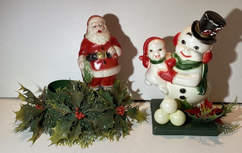 2 Vintage 5&10 Store Soft Plastic Christmas Figures Santa & Snowman 7.5x6& 7.5x5