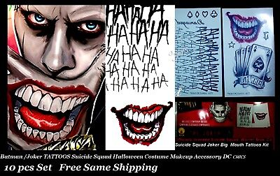 Suicide Squad Joker Batman Costume Tattoo Kit  Makeup Halloween Accessory 10