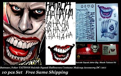 Suicide Squad Joker Batman Costume Tattoo Kit  Makeup Halloween Accessory 10 pcs