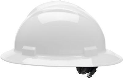 Bullard Full Brim Hard Hat with 4 Point Ratchet Suspension, White