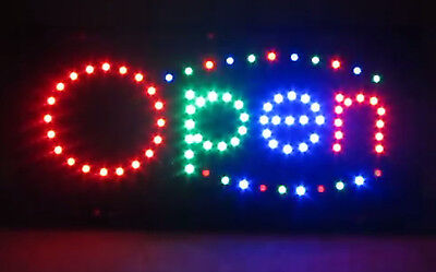 New Bright Led Open Sign Animated Motion Large Usa Seller 19 X 10 Store Neon