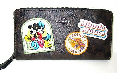 Coach F31350 Disney Minnie Mouse Patches Signature Logo Accordion Zip Wallet